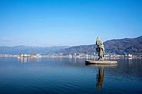 Lake Suwa and statue of Princess Yaegaki, Nagano Prefecture, Honshu, Japan