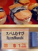 Spam musubi available in fast-food Japanese restaurant in Waikiki, Honolulu - fusion of Pacific cuisines  Polynesia, Hawaii, USA  No PR