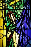 Crucifixion, by Jacques Villon, stained glass, Vatican museums, Rome, Italy