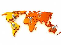 People with map of world. 3d