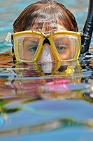 Female scuba diver on surface