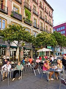 Terrace outside San Miguel Market, Madrid, Spain