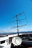 sky, satelite equipments, modern architecture, roof, antenna