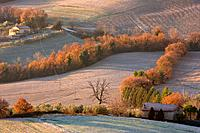 View of Tiber Valley, in early morning winter sun, fields and farmland with light dusting of snow