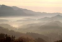 Morning fog in valley. Yamato_machi, Kumamoto Prefecture, Japan