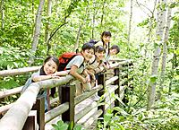 Kids on boardwalk in forest, Sapporo City, Hokkaido Prefecture, Japan