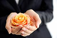 Businesswoman holding orange rose