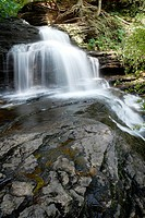 Rocks and water make a waterfall at Rickett's Glen State Park, Pennsylvania, USA