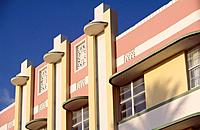 On Ocean Drive in the South Beach Art Deco district,the Carlyle hotel is one of the most noteable examples of the Streamline Moderne style with a stro...