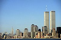 Pre_9/11 Manhattan skyline,with the World Trade Centre,along the Hudson River against a clear blue sky.