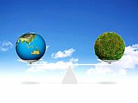Weighing plant earth and grass covered sphere