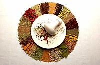 Various spices around mortar and pestle, white background