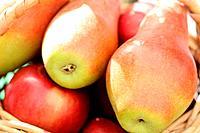 Ripe fresh pears in a basket