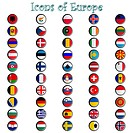 icons of europe complete collection, metallic symbols against white background abstract vector art illustration