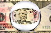 Glass sphere, dollar, two