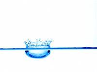 Water splashing, close up, white background