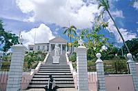 Governor General´s house. Steep steps. Colonial style house. Cannon. Statue.