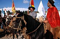 In special events such as the Rodeo Gaucho,gauchos on horseback display their skills and horsemanship developed working with stock animals such as cat...