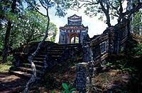 Royal tombs,lang tam. Nguyen dynasty. Stele memorial temple of Emperor Tu Duc. Steps. ReligiousArchitecture