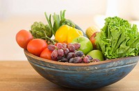 Bowl of organic fruit and vegetables