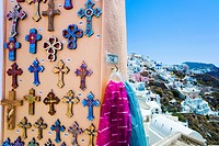 Greece, Cyclades Islands, Santorini, Oia, Souvenirs outside shop