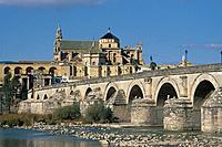 Mezquita,cathedral. Roman bridge,river.