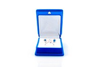 Luxury earrings in blue velvet jewelry box