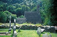 Ruins of monastic settlement. Church,graveyard. Woods.