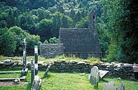 Ruins of monastic settlement. Church,graveyard. Woods.
