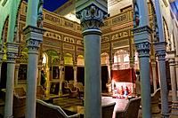 The colorful courtyard of a restored haveli turned into a hotel.