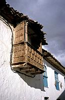 San Blas. House. Wooden balcony on house wall