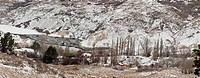 St Bathans historic gold fields town, panorama after winter snowfall, Central Otago, New Zealand