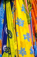 Halidon. Shop. Colourful fabrics. Yellow,blue.