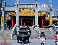 Wong Tai Sin chinese temple. Steps. Altars. Large incense burner