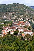 Typical rural French village of Calvignac on a hilltop in the Lot Valley, The Lot, Midi_Pyrenees, France, Europe
