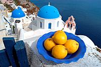 Greek lemons on the Island of Santorini