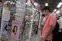 Japan, Tokyo, Akihabara, Yodobashi Camera, discount electronics store, kanji, hiragana, katakana, characters symbols, Japanese English, retail display...