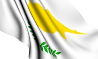 Flag of Cyprus against white background. Close up.