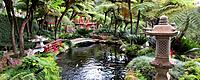 Japanese garden with scultpures, a bridge, and koi carp in a lake. Photographed in the Monte Palace Tropical Gardens in Madeira, a Portuguese island i...