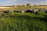 Medieval bridge, Sasamon, Burgos province, Castille-Leon, Spain