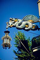 Las Ramblas. Casa Quadros. Art Deco style sculpture,iron work. Dragon,fan,street lamp.