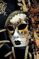 Close up of a traditional Venetian carnival mask, Venice, Veneto, Italy.