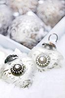 Silver christmas ornaments, Close_up, Germany