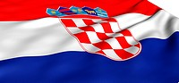 Flag of Croatia against white background. Close up.