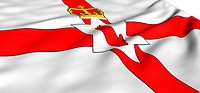 Flag of Northern Ireland against white background. Close up.