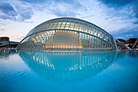 Spain, Europe, Valencia, City of Arts and Science, Calatrava, architecture, modern, Hemisferic, water