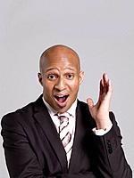 Business man portrait, mouth open hand in the air