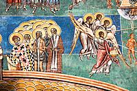 Last Judgement fresco on wall. Religious images. Painting on the exterior walls of church building. Voronet Monastery,near Gura Humorului,Southern Buc...