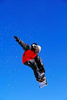 Snowboarding is a popular winter sport with young people,and some perform amazing aerial stunts and jumps.