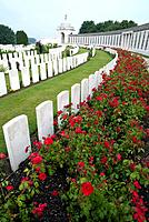 Tyne Cot Cemetery. Passchendaele. Third battle of Ypres.1917. Largest Commonwealth cemetery in the world. The rear wall contains the names of 35,000 m...